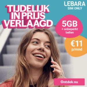 lebara sim only met onbeperkt internet aanbieding